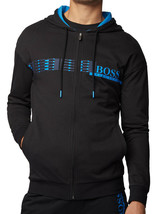 Hugo Boss Hooded Loungewear Jacket In Cotton Terry With Geometric Pattern