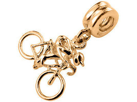 9K Yellow Gold Handmade Cyclist Dangle Charm Fits Europ EAN Bracelets - $124.74
