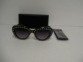 Damen PRADA Neue Sonnenbrillen Spr 31QS TKZ-2P1 Schwarz Beige Nieten Gra... - $262.33