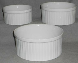 Set (3) Dansk BISSERUP WHITE PATTERN Ribbed Souffle or Serving Bowls JAPAN - $59.39