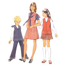 70s Vtg Simplicity Sewing Pattern 5170 Girls Jumper Sailor Top Pants Ski... - $6.95