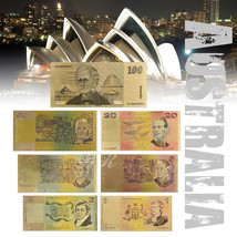 WR 1980s Australia Dollar Gold Banknote Set Colored 1,2,5,10,20,50,100 O... - $13.32