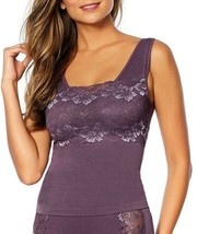 Rhonda Shear Lace-Overlay Tank with Shelf Bra in Violet, 1X (605017) - $16.82