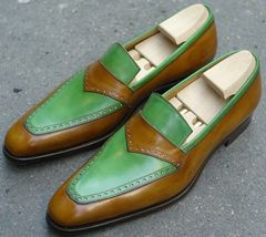 Handmade Men Leather Brown & Green Leather Shoes image 4