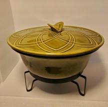 MCM California Pottery USA 679  71E Covered Casserole Dish Green  w/Warming Base - $39.51