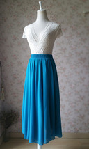 Women Blue Chiffon Skirt Full Circle Chiffon Midi Skirt Chiffon Beach Skirt image 2