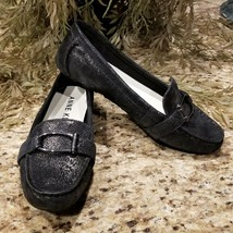 Womens AK Anne Klein Black Metallic Snake Print Petra Leather Loafers US Sz 7.5 - $39.95