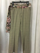 Etcetera Women's Pants Black and Tan Plaid Contrasting Attached Sash Size 4 - $38.61