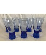 Martell Von Pok Tapered Cobalt Blue Cognac Cocktail Glass Barware Set of... - $24.74