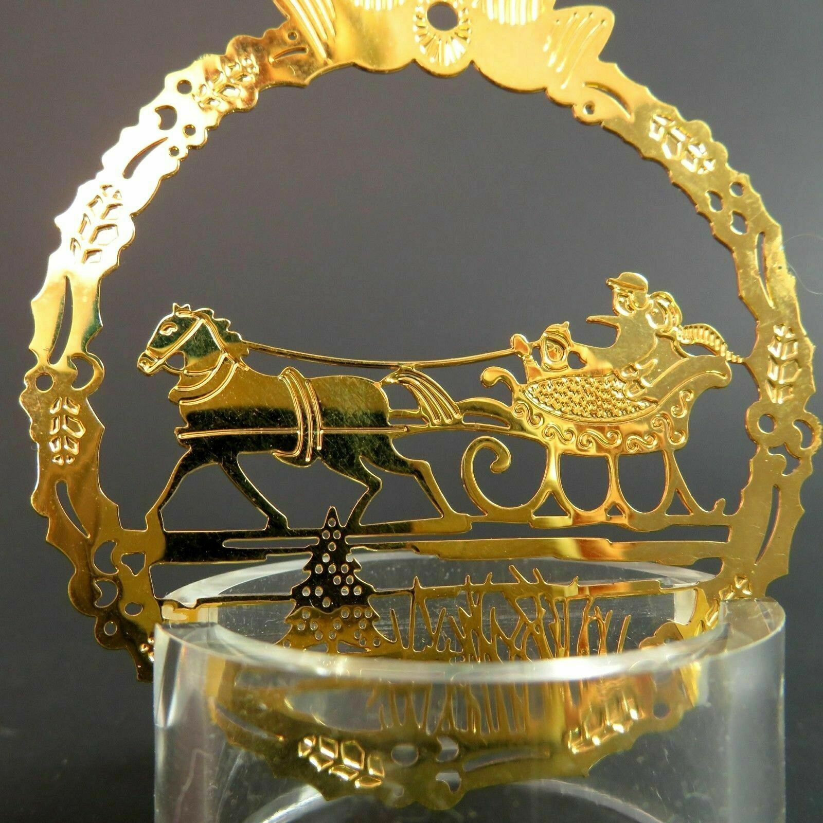 Vintage Sleigh Ride Christmas Ornament Hallmark Gold Metal Etched Embossed Scene image 5