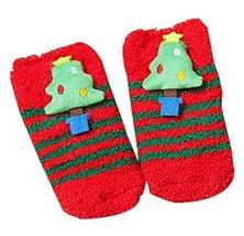Four Pairs Children Socks Cute Socks Christmas Socks Coral Velvet Floor Socks
