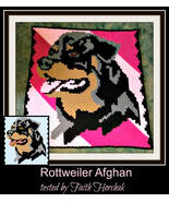 Graphghan Pattern Corner to Corner C2C Crochet Rottweiler Dog Written Words - $5.50