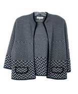Calvin Klein Cardigan Wool Blend Open Front Black Grey Geometric Front P... - $28.06