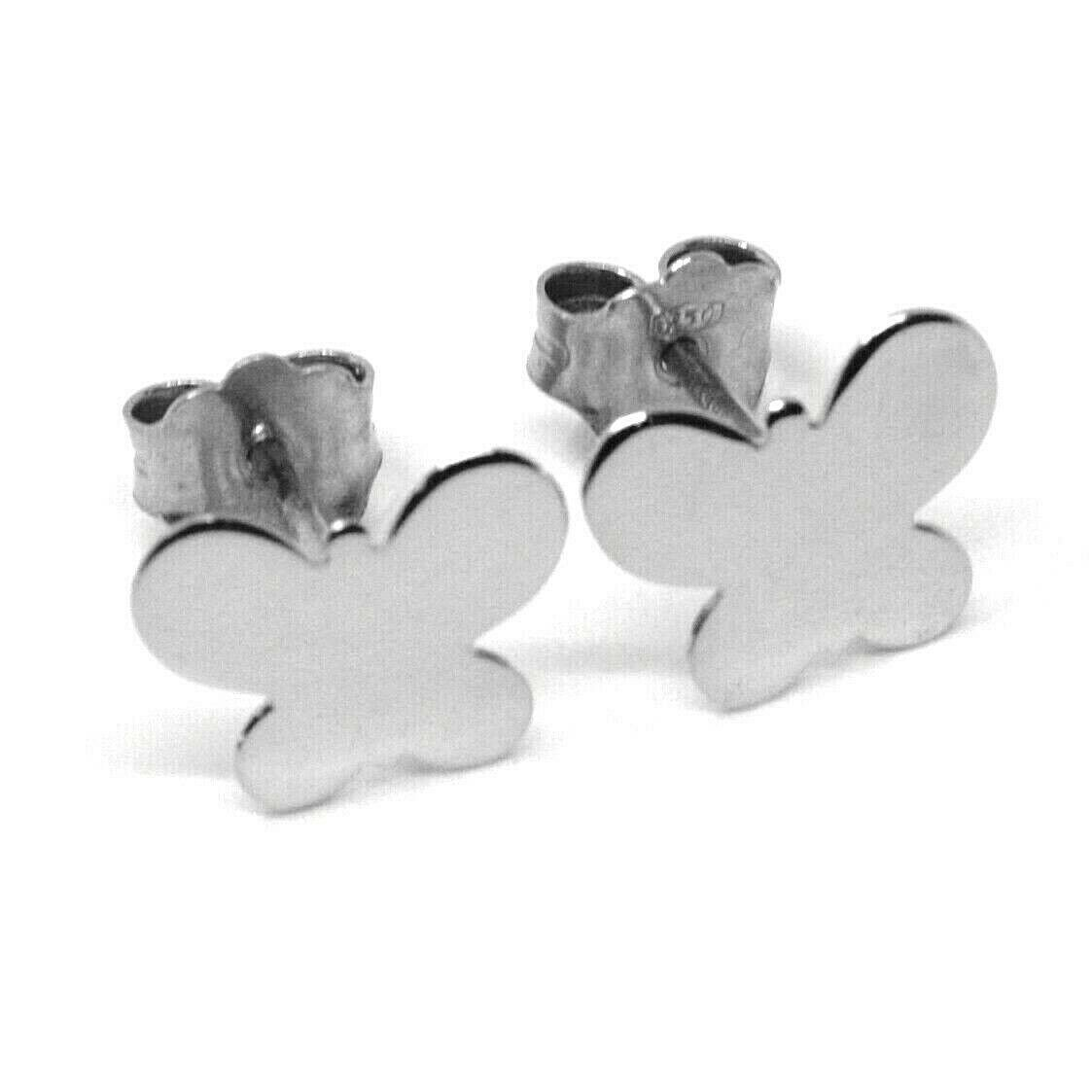SOLID 18K WHITE GOLD EARRINGS FLAT BUTTERFLY, SHINY, SMOOTH, 8x10 MM