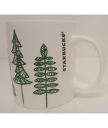 Starbucks Coffee Mug Pine Trees 12oz Cup Quilted Green 2015 Holiday Chri... - $14.84