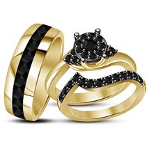 Women's Engagement Ring Men's Band Diamond Trio Set 14k Gold Plated 925 ... - $146.32