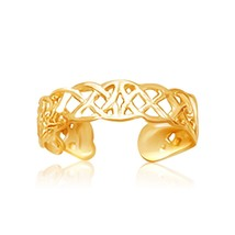 Womens Solid 14k Yellow Gold Toe Ring in a Celtic Knot Style Beach Jewelry - $91.26