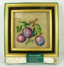 Bucilla Fruit Plums Needlepoint Picture Kit with Velvet Frame Just do Background - $22.76