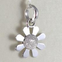 White Gold Pendant 750 18k Flower Daisy Pendant Satin 2 cm long image 1