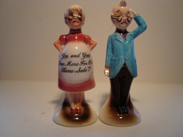 Enesco, hand painted man & woman porcelain salt & pepper shaker set. Japan. - $4.00