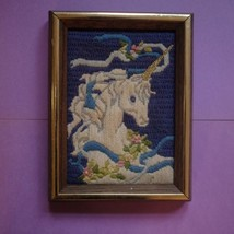 Unicorn Art Decor - Gold Frame, Embroidery Stitched, 80s Vibes, Retro Vi... - $15.00