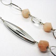 Halskette Silber 925, Jade Brown, Länge 105 cm, Kette Oval und Rolo image 5