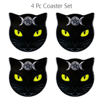 Triple Moon Cat Ceramic Coaster With Cork Backing Set of 4 - $24.74