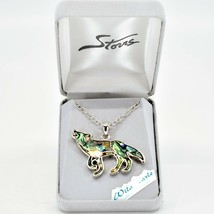 Storrs Wild Pearle Abalone Shell Howling Wolf Pendant w/ Silver Tone Necklace