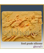 2D Chocolate / Food Grade Silicone Mold – Rudolph Pulling Santa in Sleigh - $38.00