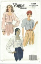 Vogue 8231 Size 6 8 10 Blouse Pattern 1990s Pleats Draping Shoulder Pads... - $12.73