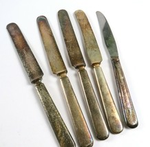 Mixed Lot of 5 Vintage Silverplate Butter Knives, Rogers, Gilger, etc. - $9.89