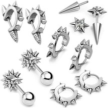 10 PCS Stainless Steel Ear Stud Earring Huggies Piercing Spike Rivet Con... - $37.12
