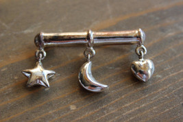 Vintage Sterling Silver Star Moon Heart Brooch Size: 4cm x 2.4cm - $44.55