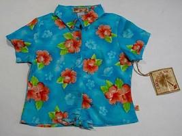 CARIBBEAN JOE GIRL M 5 6 TURQUOISE TIE FRONT TOP TROPICAL FLOWERS ISLAND... - $11.87