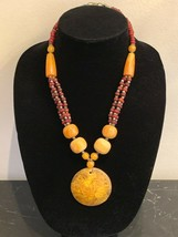 Vintage Tibetan Fluorescent Amber with Red and Silver Beads Necklace - $300.00