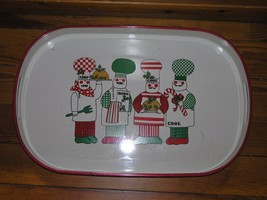 Vintage Large White & Red Lacquer w Christmas Chefs Cooks Oval Tray Plat... - $10.39
