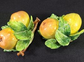 Vintage Arnalt Japan Wall Hung Fruit, Lemon and Pear, Ceramic Capodimonte Style image 4