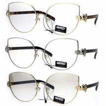 Nerd Pearl Nose Pad Jewel Hand Hinge Metal Cat Eye Glasses - $17.34 CAD