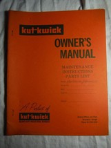 """Kut-Kwick KDV-1000-31 1600-31 lawn tractor """"The Goat"""" owner's parts manual *rare - $16.41"""