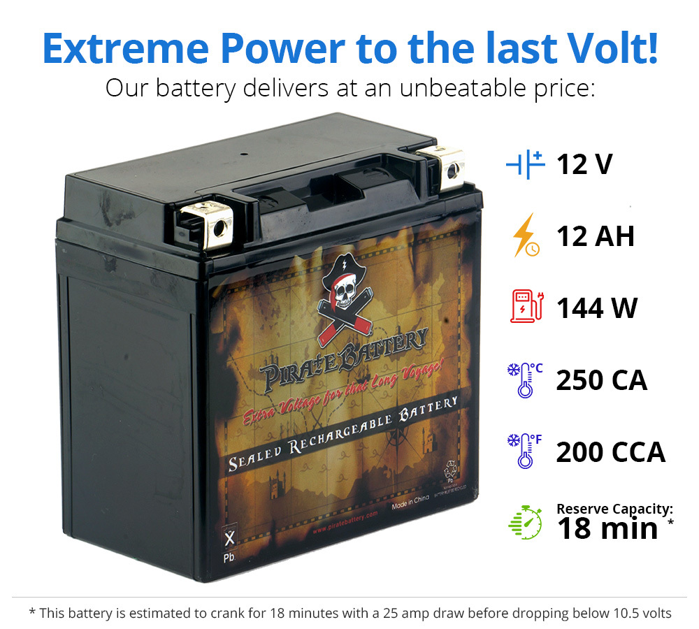 YTX14-BS Scooter Battery for Piaggio 460cc X9 2009