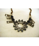 Re purposed tribal punk hand knotted necklace with metal garage artifact... - $98.99