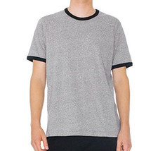 American Apparel Men's Mock Twist Jersey Crewneck Ringer T-Shirt XL X-Large Grey - $17.81