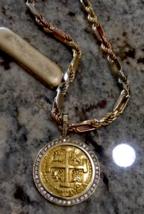 PERU 8 ESCUDOS 1727 GOLD AND DIAMOND BEZEL JEWELRY NECKLACE PENDANT PIRA... - $26,950.00