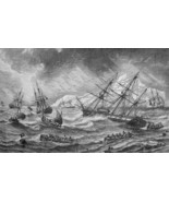 CANADA Rocky Shores of Newfoundland Sailships in Storm - 1882 Wood Engra... - $18.36