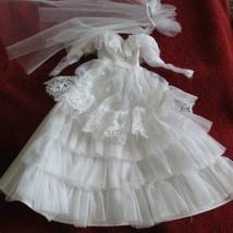 WEDDING  DRESS - for Barbie or fashion doll  w/veil   (sewrm#37) - $11.30