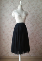 Women BLACK Midi Tulle Skirt Black Plus Size Tulle Midi Skirt Outfit Party Skirt image 4