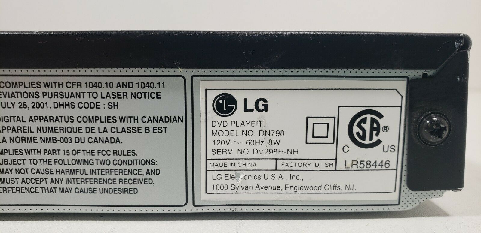 LG HDMI DVD Player DN798 with Remote Tested