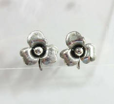 Flower Earrings Danecraft Signed Sterling Silver Screw Backs Floral 9040 - $24.75
