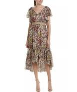 Taylor Size 4 Floral Flutter Sleeve Midi Dress Multi Pattern Wedding  - $99.97