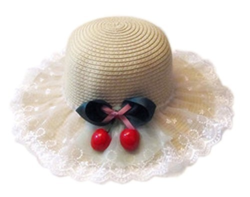 Summer Fashion Sun Hat For Kids With Bowknot Decor&Lace Cream-coloured